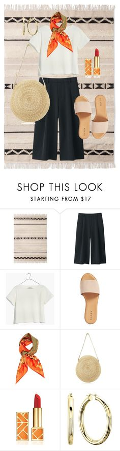 """""""tangier trip look 1"""" by farawaylands ❤ liked on Polyvore featuring Uniqlo, Madewell, Hinge, Hermès and Tory Burch"""