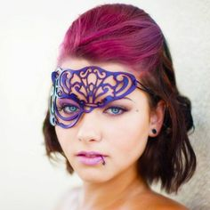 Vixen half mask in purple leather by Tom Banwell