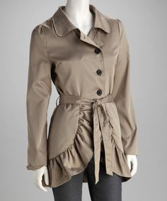 Take a look at this Khaki Ruffle Trench Coat by Ruby Rose on #zulily today!