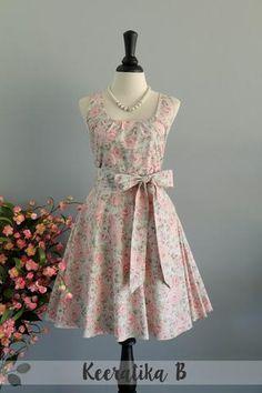 My Lady - Pastel Green Floral Dress Spring Summer Sundress Pink Floral Party Dress Floral Bridesmaid Dress Pink Floral Tea Dress XS-XL