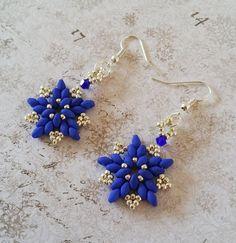 Blauwe zilveren ster oorbellen Blauwe ster door HoneyBeads1Official