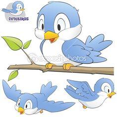 Um conjunto de pássaros bonito dos desenhos animados — Ilustração de Stock #22003311