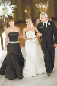 For Danielle's formal black-tie wedding, her mother, Renee, opted for a dress that perfectly captured the event's mood