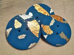 JUMBO Blue ROUND Polymer Clay BUTTONS  Gold Silver by KatersAcres