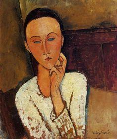 Амедео Модильяни -  Луния Чеховская с левой рукой у щеки  (1918) -  Частная коллекция