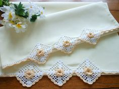 Vintage Butter Yellow Pillowcases With Hand Crocheted Trim on Etsy, $15.00