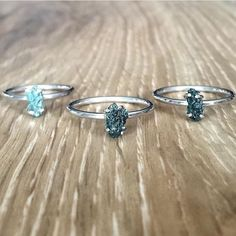 Ethically Sourced Green Ocean Raw Diamond Rings ♥️♥️ Available in our 'Gems and Stones' Collection || www.indieandharper.com
