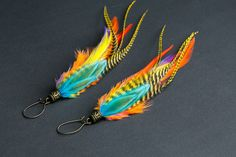 Feather earrings: natural feather earring, bohemian earring, boho earring, hippie earring, long, light, colorful earring orange turquoise