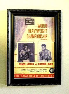 1964 Ali Cassius Clay vs Sonny Liston boxing poster Framed