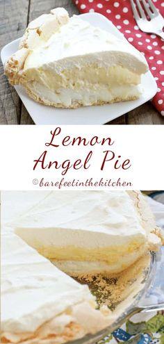 Lemon angel pie a k a the best lemon pie! barefeet in the kitchen lemon pie bars Beef Pies, Mince Pies, Lemon Angel Pie Recipe, Easy Lemon Pie, Barefeet In The Kitchen, Lemon Dessert Recipes, Cream Pie Recipes, Lemon Recipes, Cake Recipes