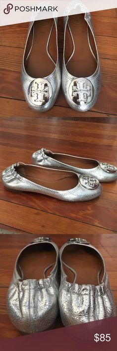 Tory Burch Revas Silver Tory Burch Reva flats with silver hardware. Size 7 Tory Burch Shoes Flats & Loafers
