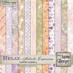 Relax - oh the thing I do not do very well,but I have been practicing more and more. I think making time for one is so important. This is a funky artsy grungy product with a lot of pieces. I love the way it turned out. Includes: 12 different papers