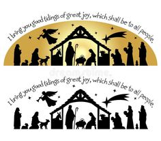 Photo about Calligraphy Christmas bible verse with nativity silhouette...I bring you good tidings of great joy, which shall be to ll people. Illustration of kings, scene, graphics - 27649608