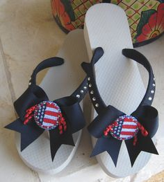 Patriotic Flip Flops, Swarovski Crystals, Gingham Buttons, Stars & Stripes, Red White and Blue, 4th of July, Perfect for Summer, Comfy Wedge by FlipFlopsforAllShop on Etsy https://www.etsy.com/listing/192093752/patriotic-flip-flops-swarovski-crystals