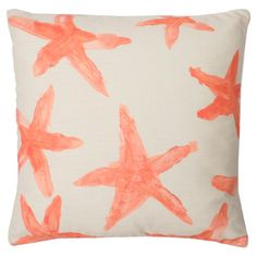 Faux linen throw pillow in coral with a watercolor-style starfish motif and feather fill.   Product: PillowConstruct...
