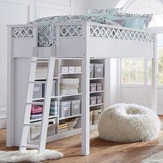 Elsie Loft Bed Set, Full, Simply White