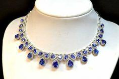 14kwg Tanzanite & Diamond Necklace 53ctw : Lot 119A