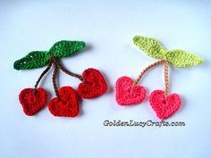 Crochet Cherry Hearts Applique