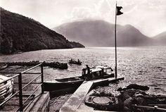 Vintage 1960s B&W Postcard Italy Lago di Como Mountain Water Boat Scene