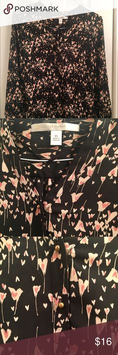 LC Lauren Conrad Heart Blouse Adorable and comfy black blouse with pink heart pattern. Features tiny gold buttons on front and on cuff sleeves. 100% polyester. Perfect for work or play. LC Lauren Conrad Tops Blouses