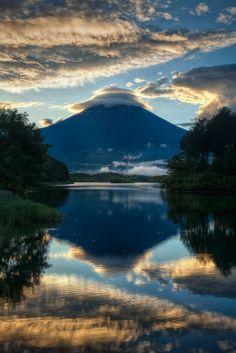 Golden Triple Lenticular Clouds over Mt. Fuji, Japan   Yuga Kurita