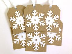 Winter Wedding Favor Tags  Snowflake Tag Set  by MyPrettyPaper