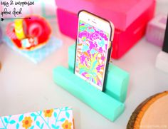 DIY Room Organization - make this easy iPhone dock with wood you can find at your local hardware! All you do is glue them together! - iphone dock/charging station #diy #diyiphonedock #diyroomorganization