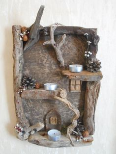 Beautiful Driftwood Fairy House Candle Display by oddityavenue – Handwerk und Basteln Driftwood Projects, Driftwood Art, Diy Furniture Projects, Craft Projects, Reclaimed Wood Art, Branch Decor, House On The Rock, Home Candles, Beautiful Candles