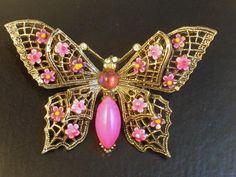 Signed ART Enameled Pink Butterfly Brooch