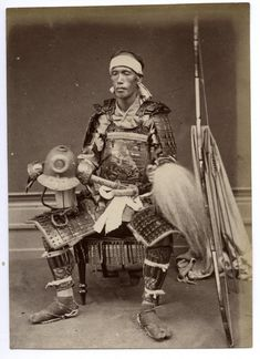 Original 19th century albumen photograph of a Japanese Samurai in armor