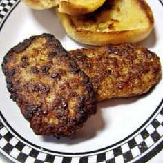 Uniquely shaped sausage patties, rather much like Spam from a can sliced lengthwise for pan frying.