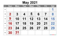 Download free printable May 2021 calendar with holidays in a variety of different formats and colors. The printable calendar are available as Microsoft Word (2007 or later) PDF or Image files that easy to print. Free Printable May 2021 Calendar Printable Calendar Features Calendar: Free Printable May 2021 Calendar Calendar of the Year: 2021 Paper Orientation: Landscape First day of the Week: Sunday First U.S. edition with U.S. federal holidays and observances Print Paper: A3, A4 Supported Files: December Calendar, Kids Calendar, Calendar Pages, 2021 Calendar, Printable Blank Calendar, Monthly Planner Printable, Calendar Templates, Calendar With Week Numbers, Microsoft Word 2007