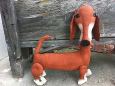 Relisted  Primitive Reddish Brown Weiner Dog by Rabbithollowprims on Etsy, $19.95