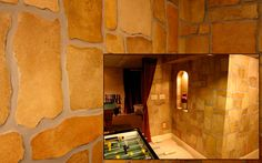 Painted Cobblestone Walls. Faux stones turn this family game room into an ancient stone cellar.