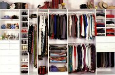 23 Admirable Wardrobe Designs To Inspire You : White Charming Walkin Open Concept Wardrobe Design with a Lot of Drawers