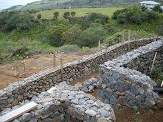 Terraced Blue Rock Walls Below the House in Maui