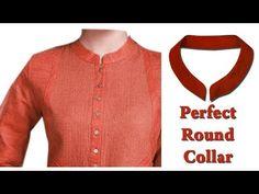 Kurti collar neck Easy Round Collar Cutting & Stitching full tutorial well explained Hindi Tutorial - YouTube