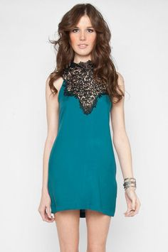 Tracy Lace Dress in Teal $33 at www.tobi.com