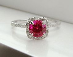 Ruby engagement ring - Ruby and diamond halo ring by PenelliBelle on Etsy
