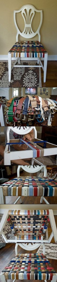 DIY Belted Chair - 10 Vivid DIY Reupholstered Chairs | GleamItUp