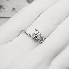 """Branches""  Engagement Ring in 14K White Gold with 0.36ct Canadian Diamond.  #madeincanada #canadiandiamond #ethicallymade #engagementring #minimalistdesign #ottawabride"