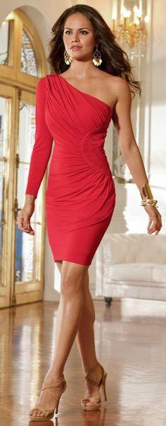 Side Ruched One-Shoulder Dress