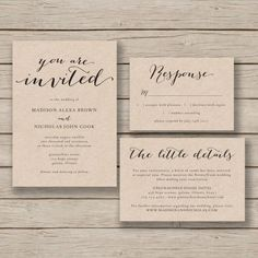 Printable Wedding Invitation Template - Rustic Invitation Suite- DIY Invite EDITABLE by YOU in Word - calligraphy style - print on Kraft
