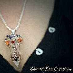 Chakra Tree of Life Crystal Pendant created using Genuine Jewelry Ideas, Unique Jewelry, Beautiful Moon, Tree Of Life Pendant, Wire Work, Crystal Pendant, Chakra, Gypsy, Weave