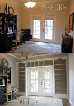 This is a lot of space to display junk but it looks beautiful!! DIY Turn A Dull Wall Into An Impressive Floor-To-Ceiling Bookcase. Fireplace wall