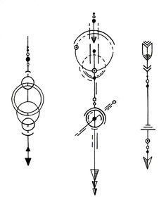 Geometric Shapes Art, Geometric Tattoo Design, Geometric Designs, Geometric Compass, Geometric Arrow, Symbolic Tattoos, Unique Tattoos, Mini Tattoos, Small Tattoos