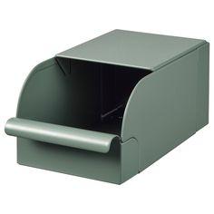 "REJSA瑞萨储物盒,灰绿色,金属,宽度:3½""-IKEA Desk Paper Organizer, Paper Organization, Crosse De Hockey, Vert Metal, Ikea Storage Boxes, Storage Chest, Office Storage, Kallax Shelving Unit, Letter Tray"