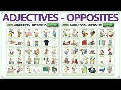 ESOL / ELA Reference Charts about Adjectives and their opposites in English List Of Adjectives, English Adjectives, English Vocabulary Words, English Grammar, English Language, Personality Adjectives, Woodward English, Esl, Youtube