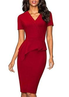 Nice-forever Vintage Solid Color Mature Brief Wear to Work Ruffle vestidos Bodycon Office Business Sheath Women Dress Women's A Line Dresses, Half Sleeve Dresses, Types Of Dresses, Knee Length Dresses, Blue Dresses, Casual Dresses, Work Dresses For Women, Trendy Clothes For Women, Peplum Dress