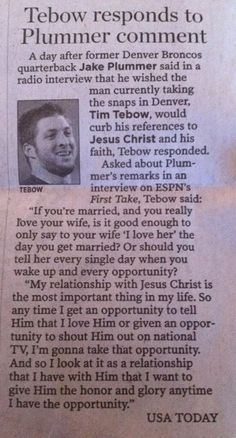 Yes. I don't care WHAT people say about Tebow! Anyone that loves Jesus that much is a winner in my book.